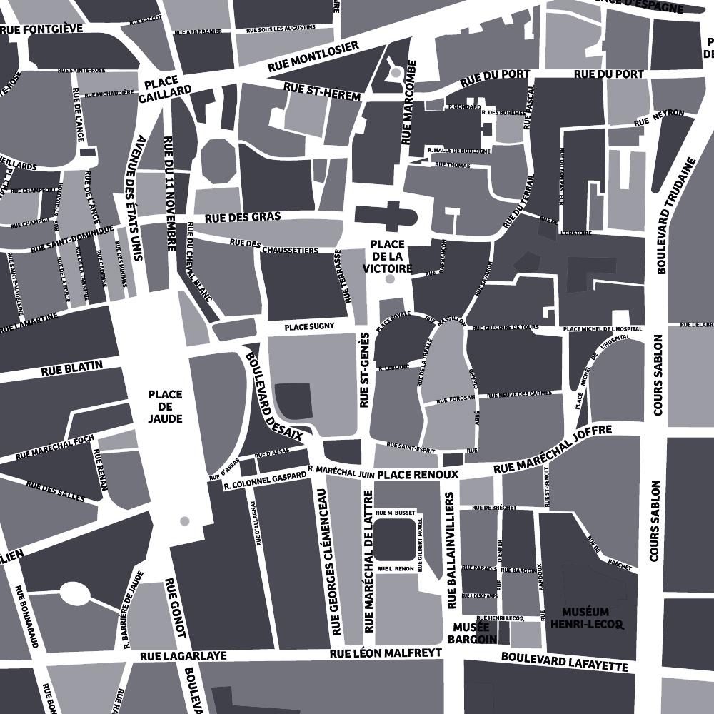 Détail rues et places